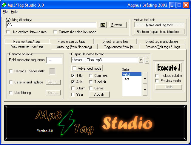 Mp3Tag Studio ScreenShot - click to enlarge